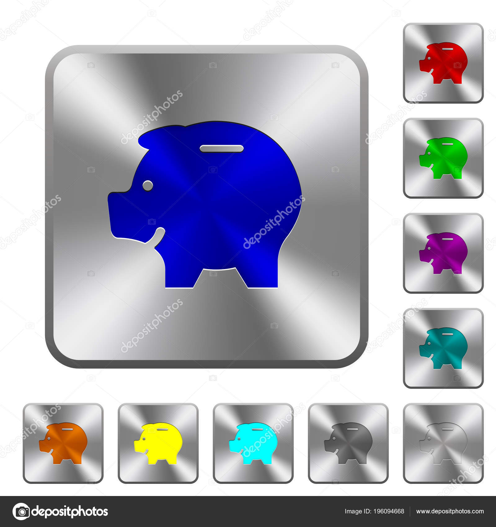 Left Facing Piggy Bank Engraved Icons Rounded Square Glossy Steel