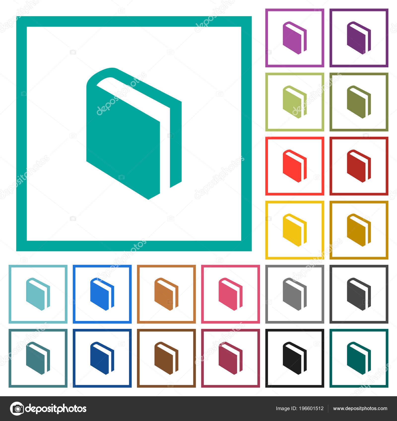 Single Book Flat Color Icons Quadrant Frames White Background ...