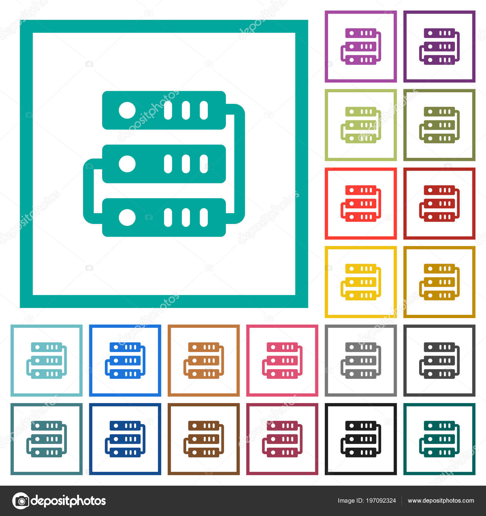 Connected Servers Flat Color Icons Quadrant Frames White Background ...