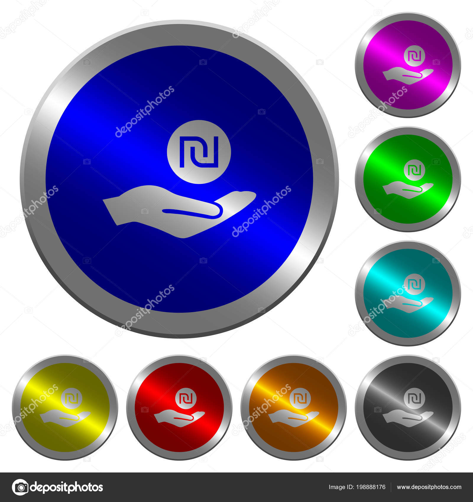 Israeli New Shekel Earnings Icons Luminous Coin Color Steel Buttons