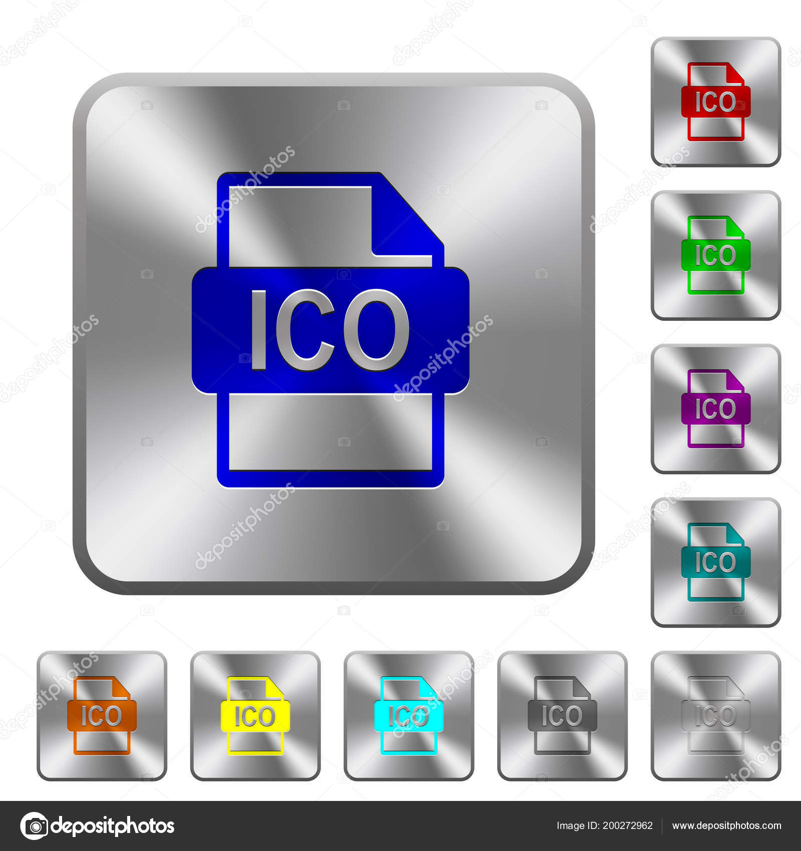 Ico File Format Engraved Icons Rounded Square Glossy Steel Buttons
