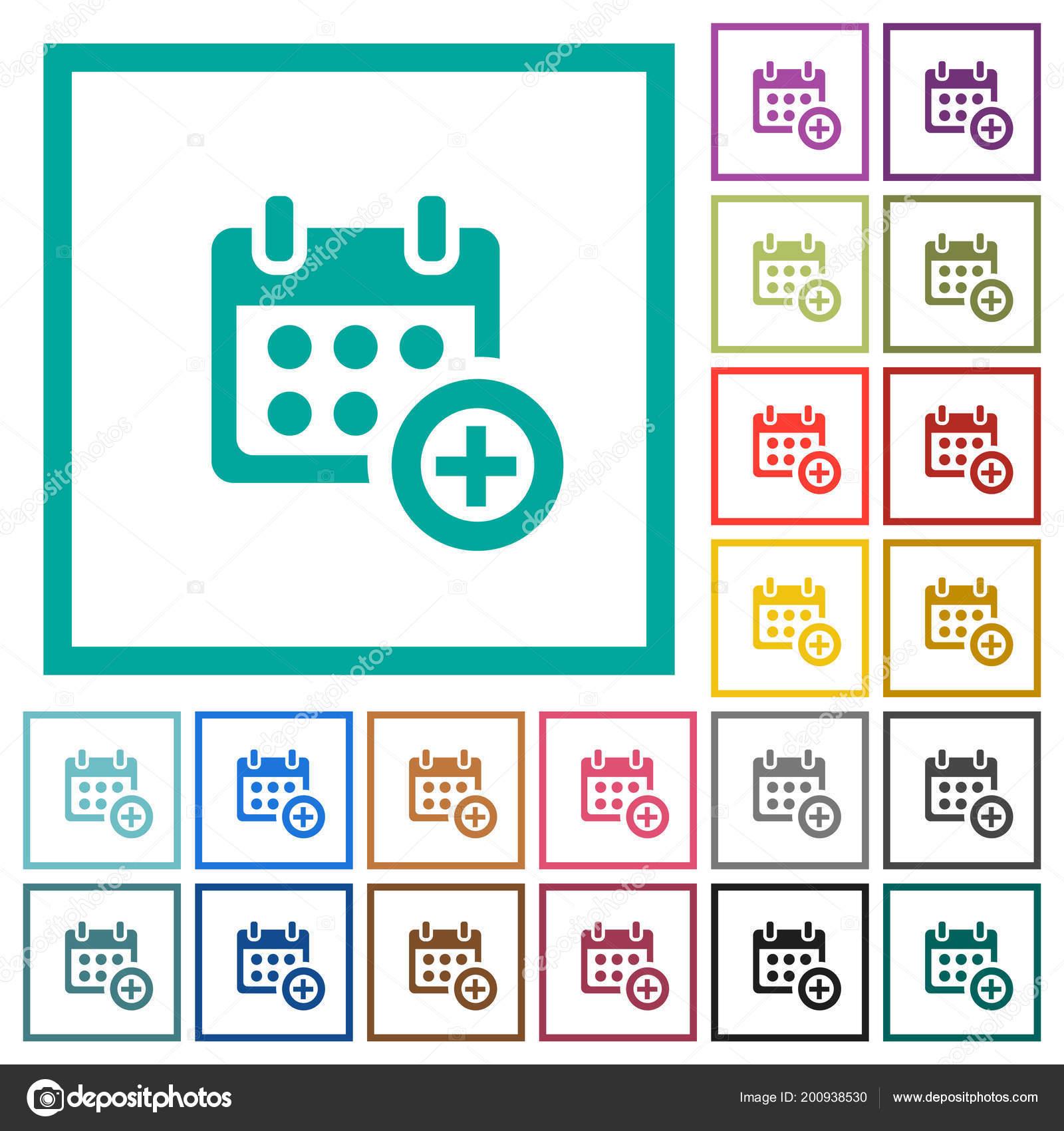 Anadir Calendario.Anadir Los Iconos Color Plano Calendario Con Cuadros