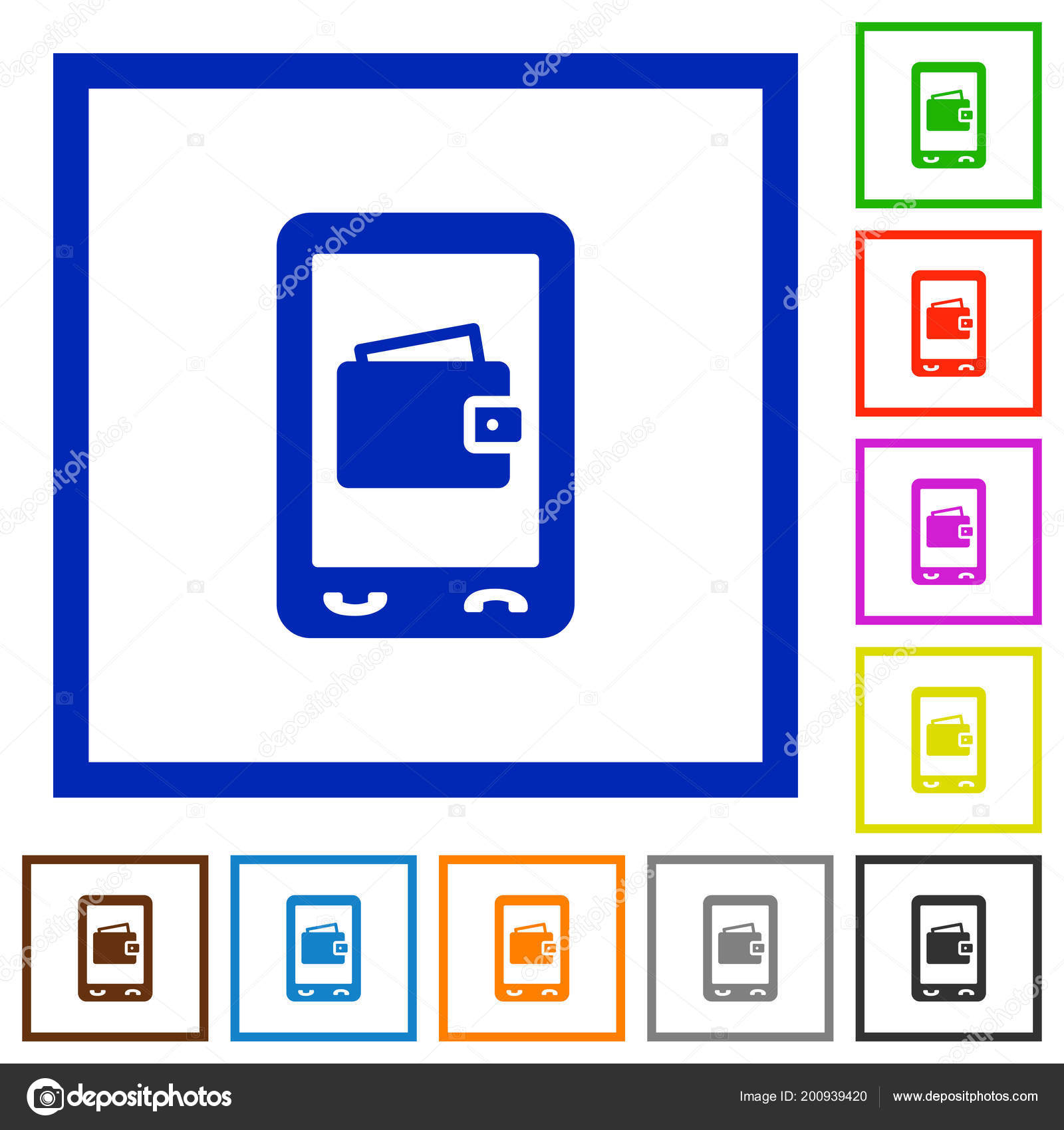 Mobile Wallet Flat Color Icons Square Frames White Background ...