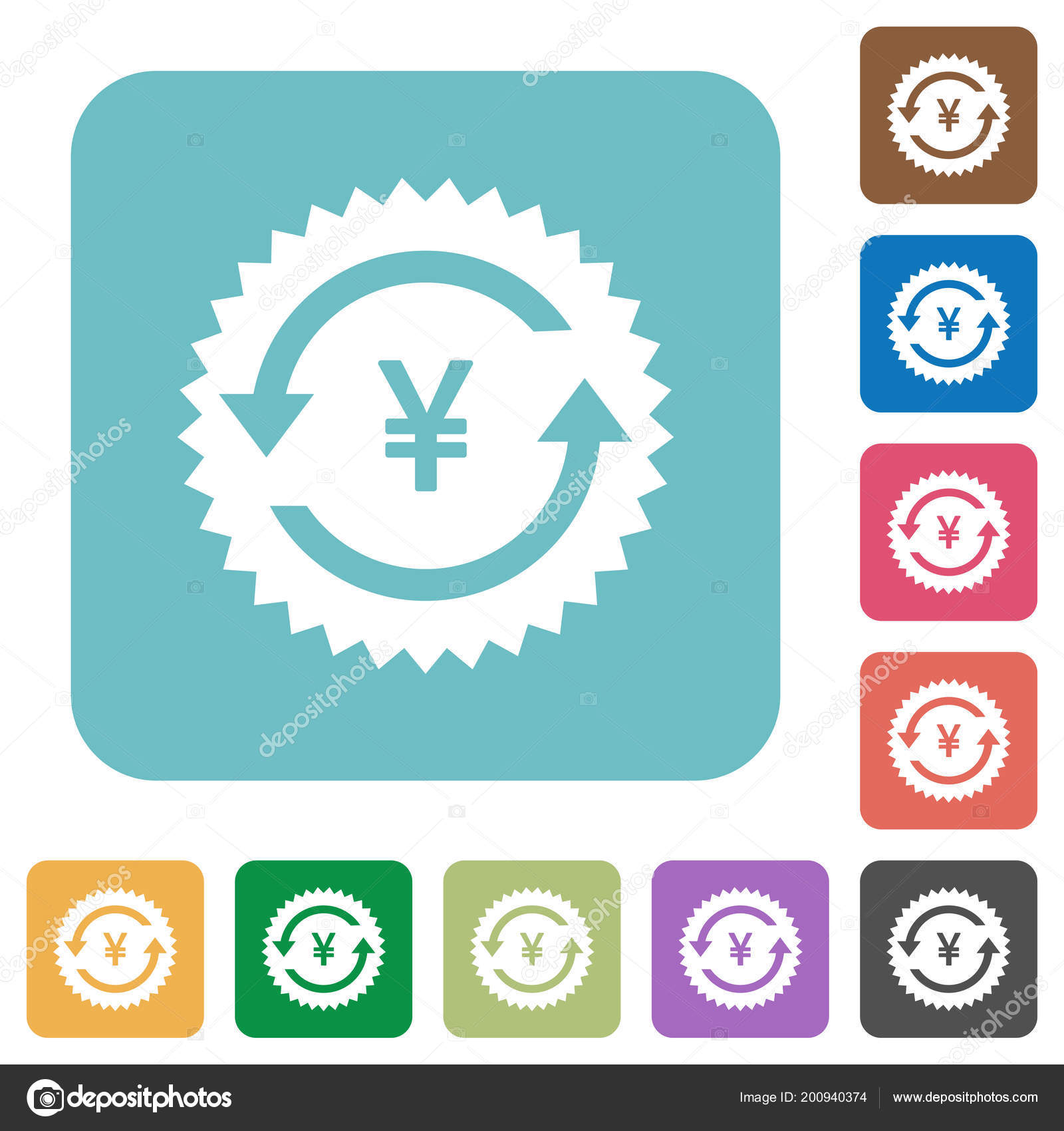 Yen Pay Back Guarantee Sticker White Flat Icons Color Rounded