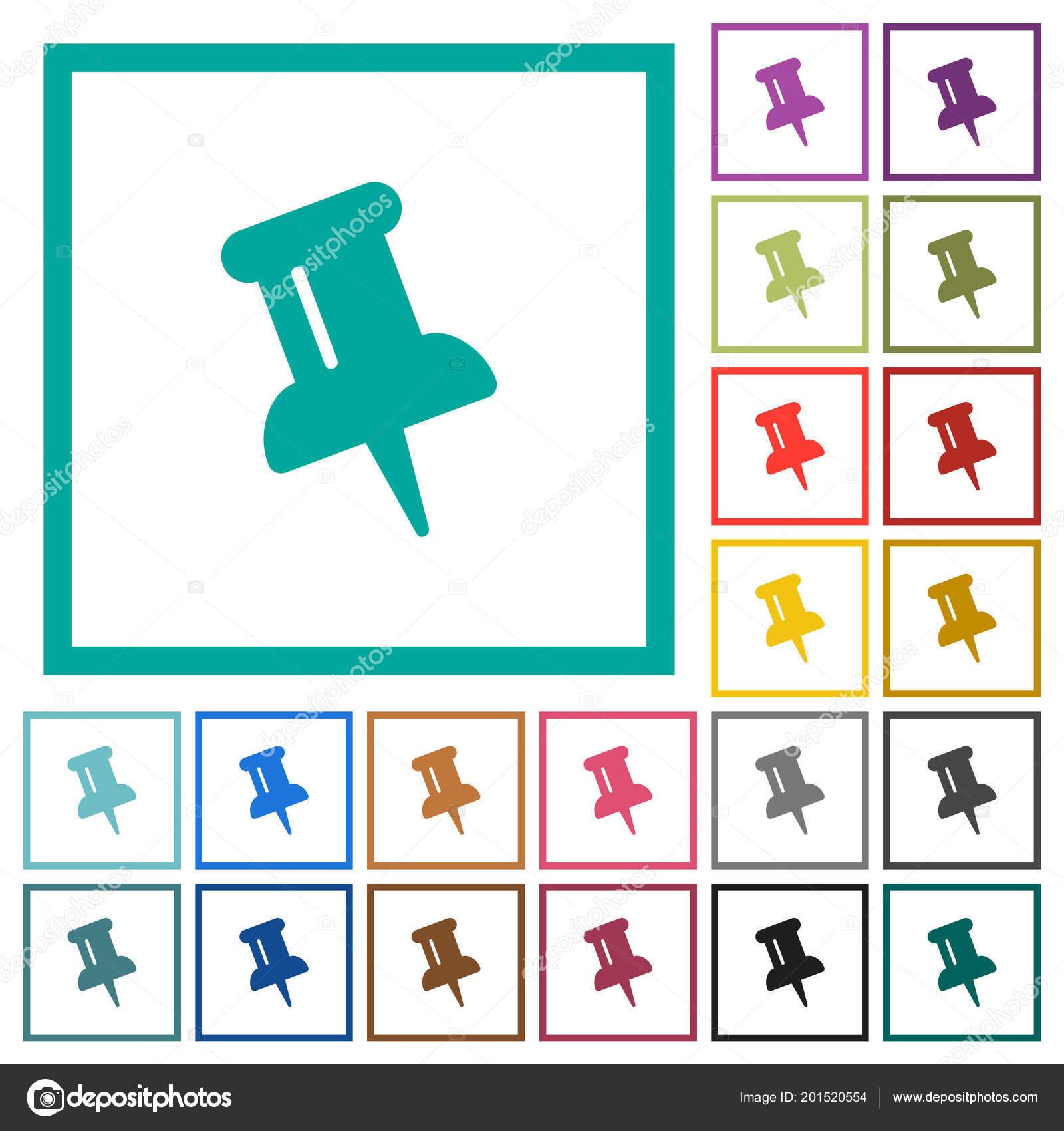 Push Pin Flat Color Icons Quadrant Frames White Background — Stock ...