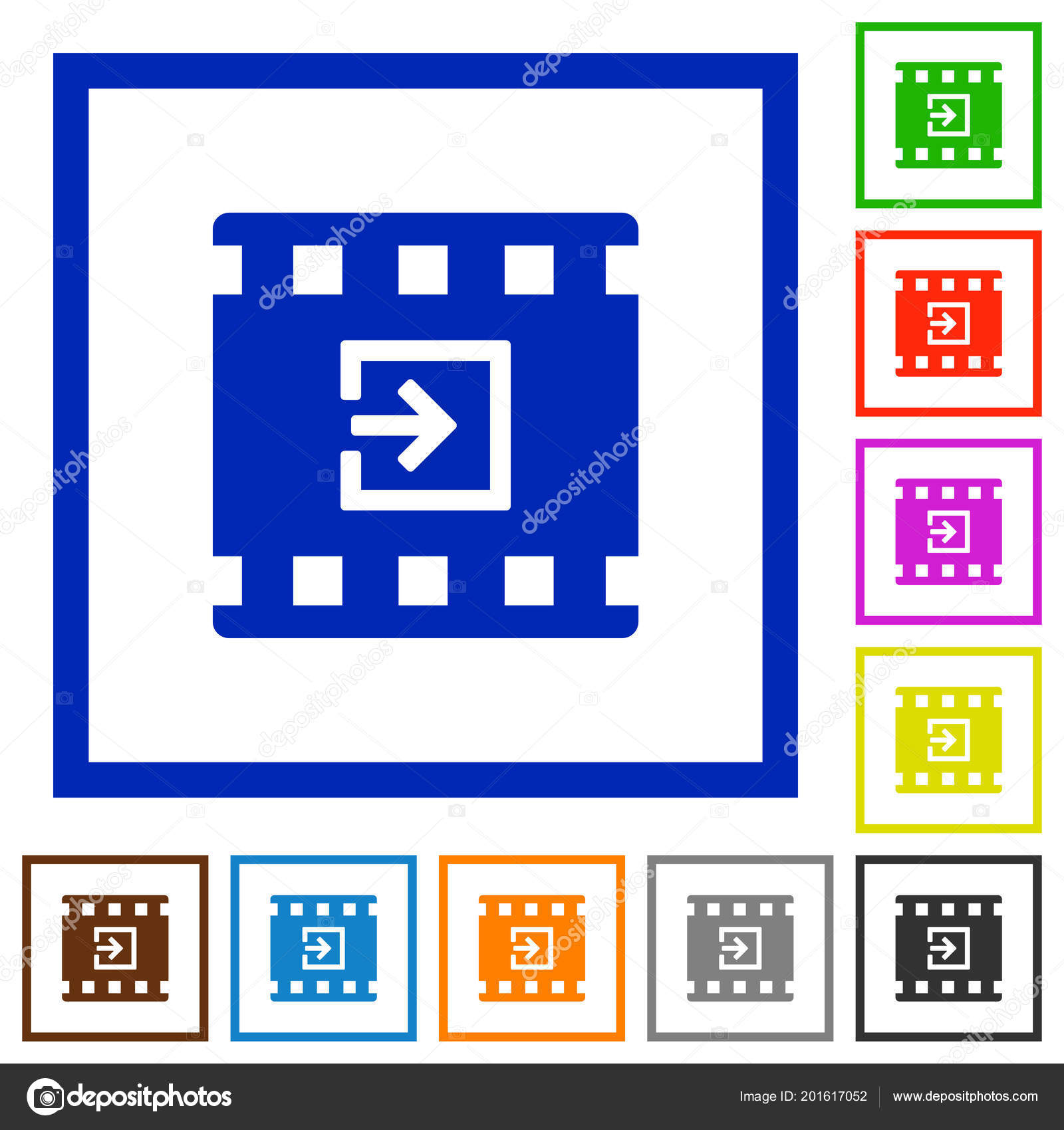 Import Movie Flat Color Icons Square Frames White Background ...