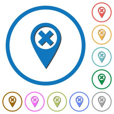 Cancel GPS map location flat color vector icons with shadows in round outlines on white background