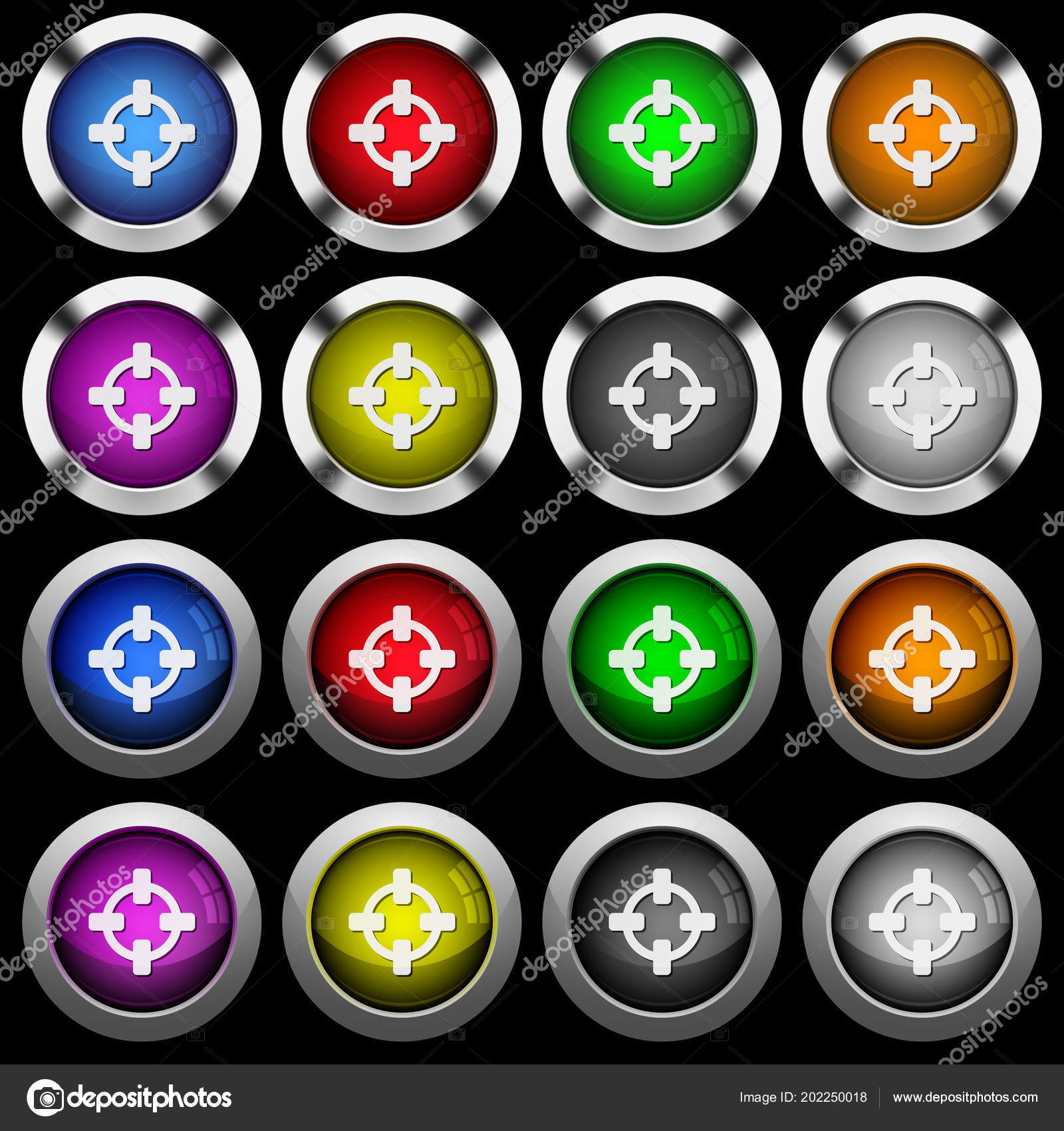 Target White Icons Glossy Buttons Steel Frames Black Background ...