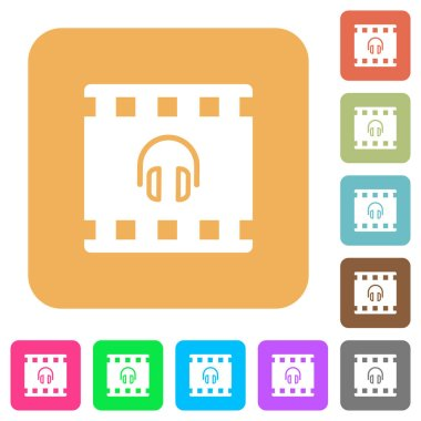 Movie audio flat icons on rounded square vivid color backgrounds.