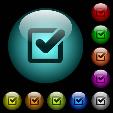 Checkbox icons in color illuminated spherical glass buttons on black background. Can be used to black or dark templates