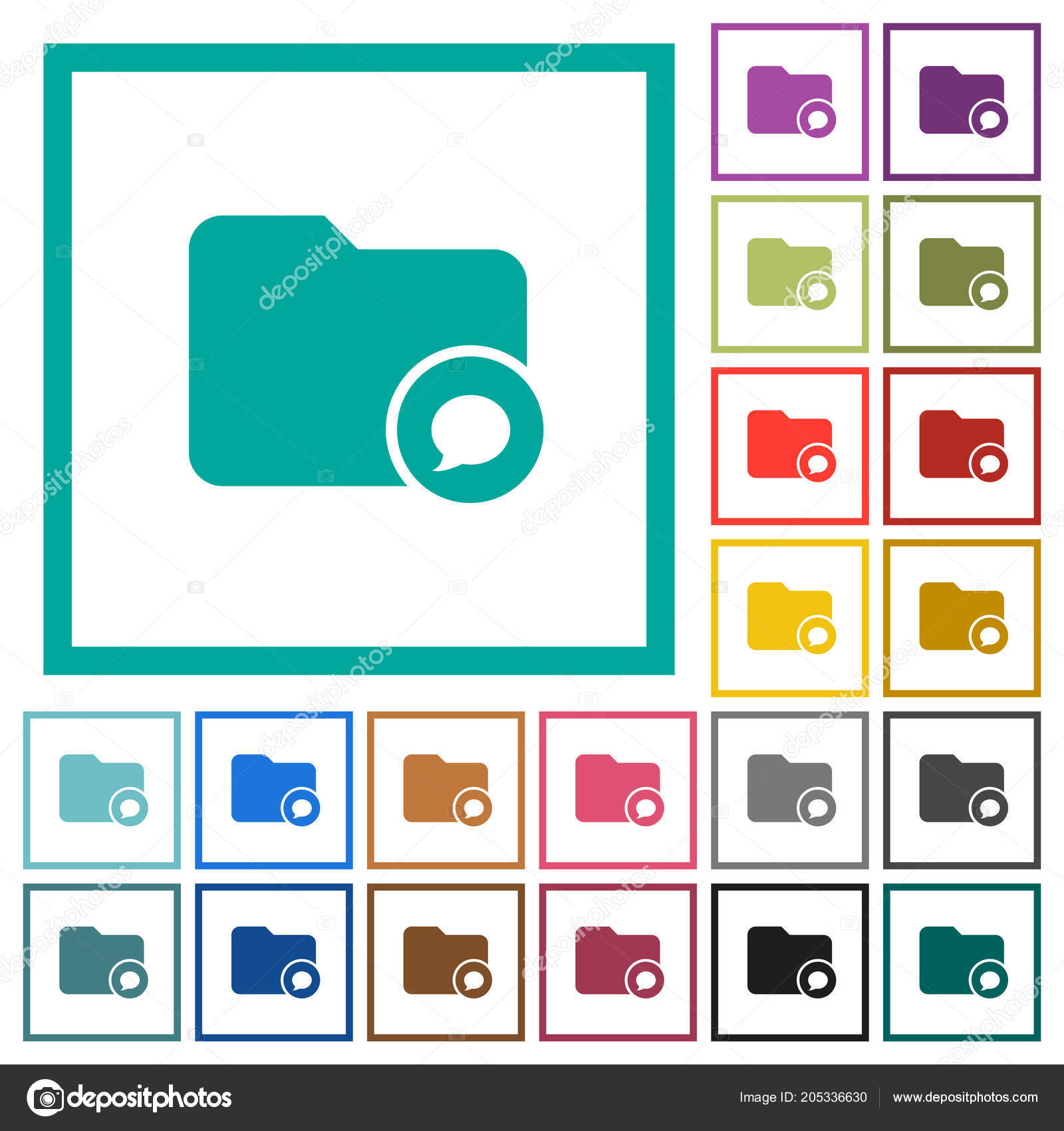 Directory Notifications Flat Color Icons Quadrant Frames White ...