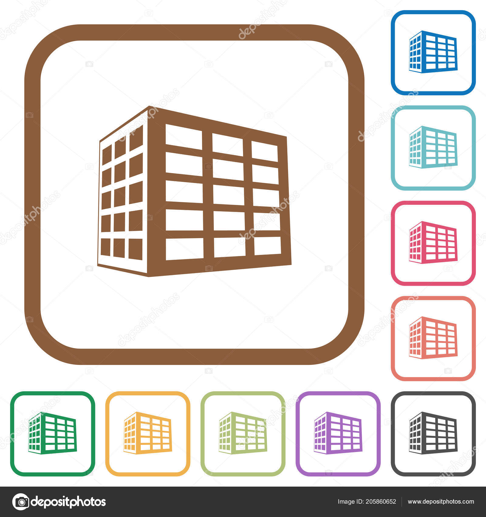 Office Block Simple Icons Color Rounded Square Frames White ...
