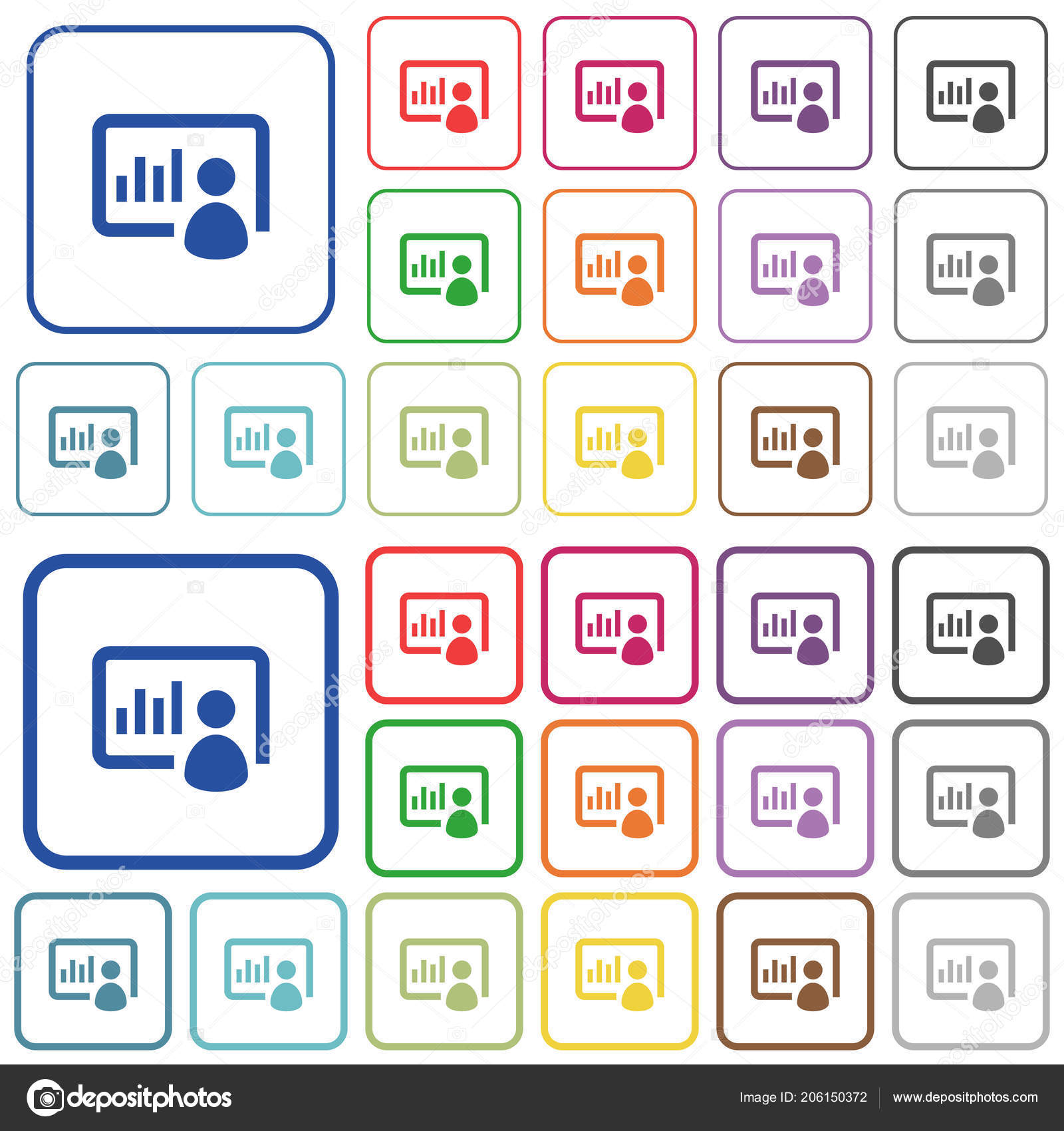 presentation color flat icons rounded square frames thin thick
