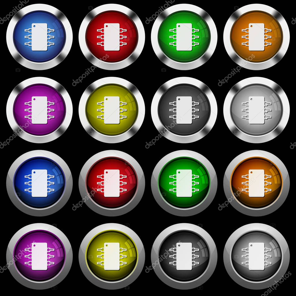 Icons Website Search Over 28444869 Icon Integrated Circuits And Symbol Logic Board Circuit White In Round Glossy Buttons With Steel Frames On Black Background