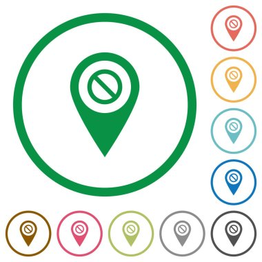 Disabled GPS map location flat color icons in round outlines on white background