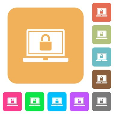 Locked laptop flat icons on rounded square vivid color backgrounds.