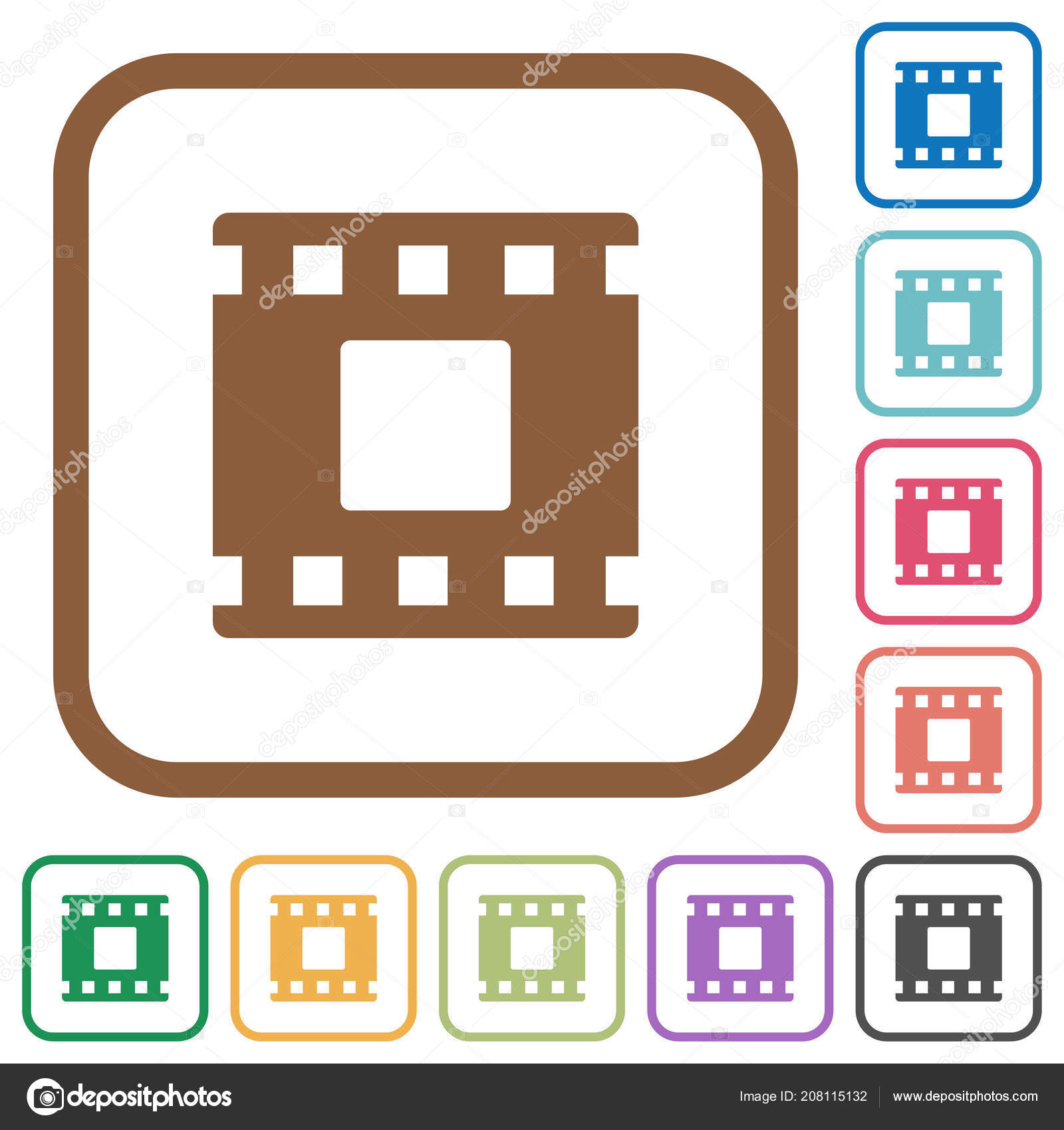 Movie Stop Simple Icons Color Rounded Square Frames White Background ...