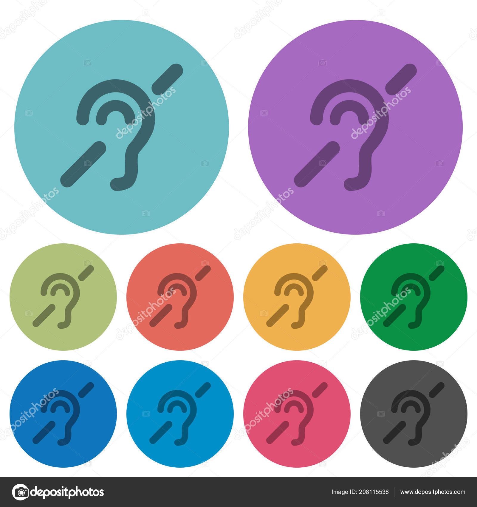 Hearing Impaired Darker Flat Icons Color Background Stock Vector