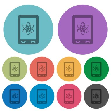 Mobile science darker flat icons on color round background
