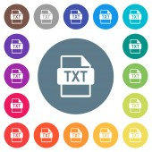 Fotografie TXT file format flat white icons on round color backgrounds. 17 background color variations are included.