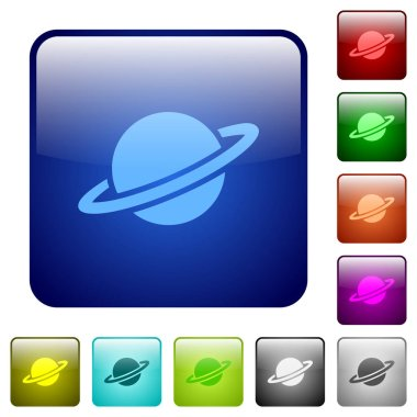 Planet icons in rounded square color glossy button set