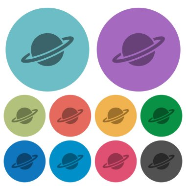 Planet darker flat icons on color round background