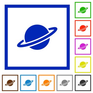 Planet flat color icons in square frames on white background