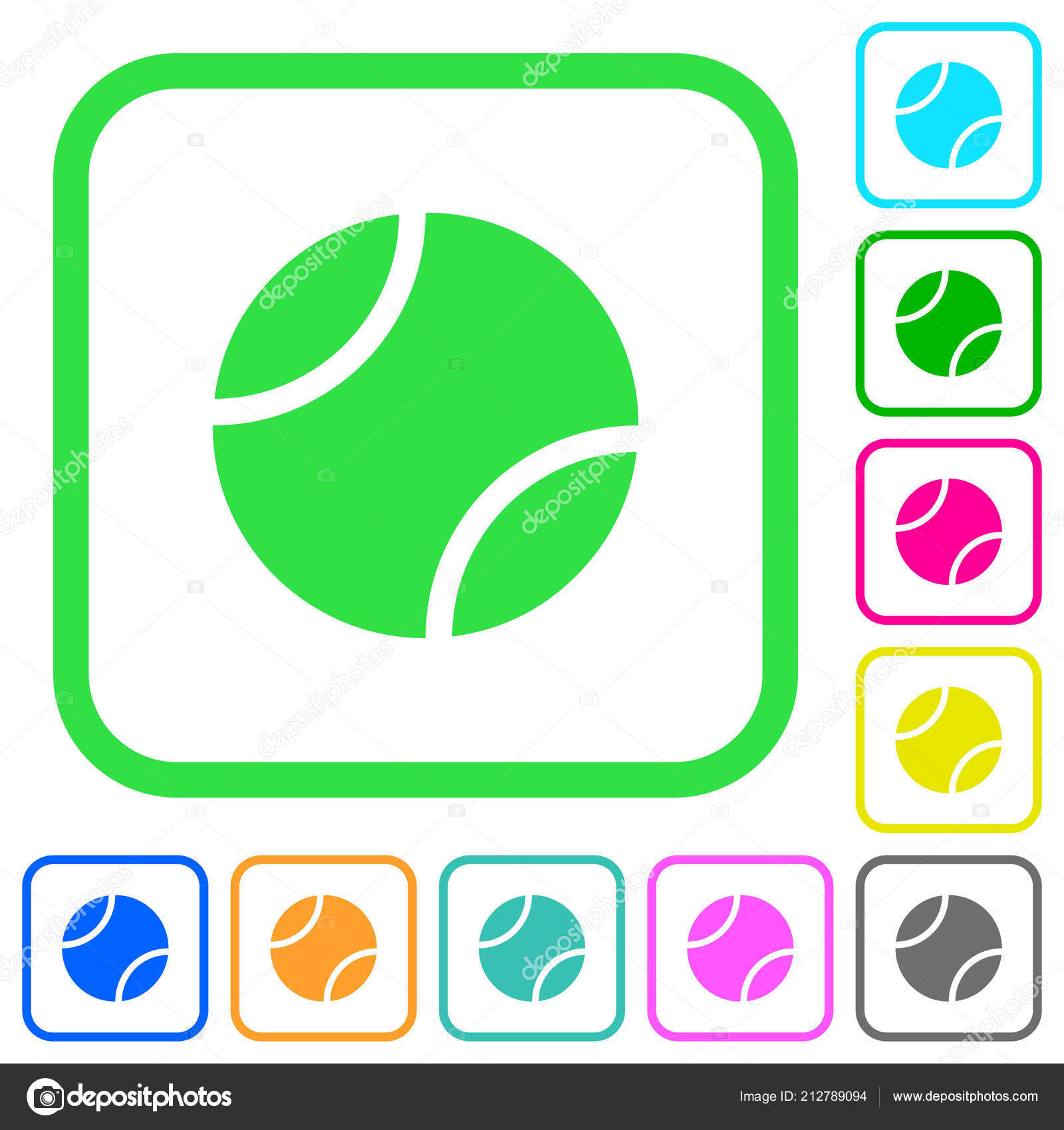 Tennis Ball Vivid Colored Flat Icons Curved Borders White Background