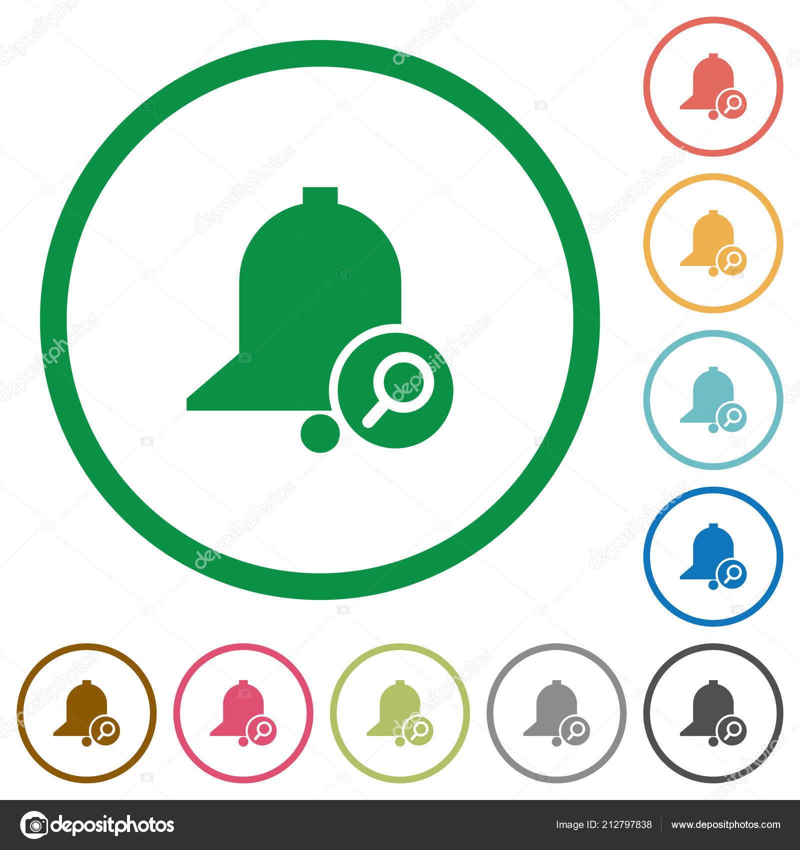 Find Reminder Flat Color Icons Outlines White Background — Stock ...