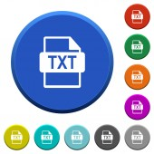 Fotografie TXT file format round color beveled buttons with smooth surfaces and flat white icons