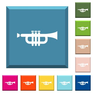 Trumpet white icons on edged square buttons in various trendy colors