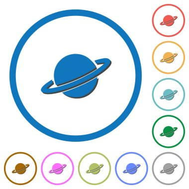 Planet flat color vector icons with shadows in round outlines on white background