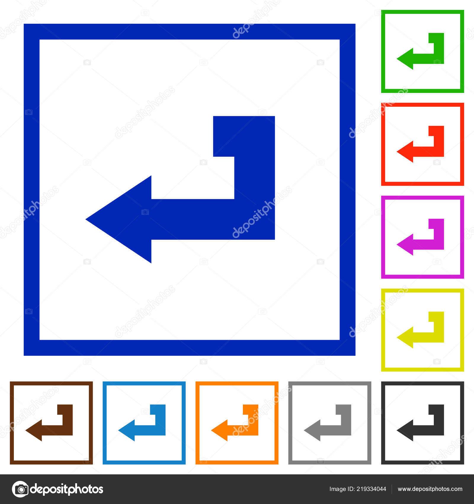 Return Key Flat Color Icons Square Frames White Background — Stock ...