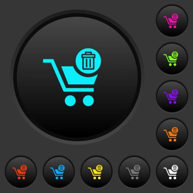 Delete from cart dark push buttons with vivid color icons on dark grey background