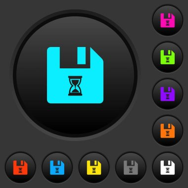 File waiting dark push buttons with vivid color icons on dark grey background