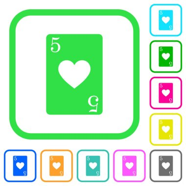 Five of hearts card vivid colored flat icons in curved borders on white background