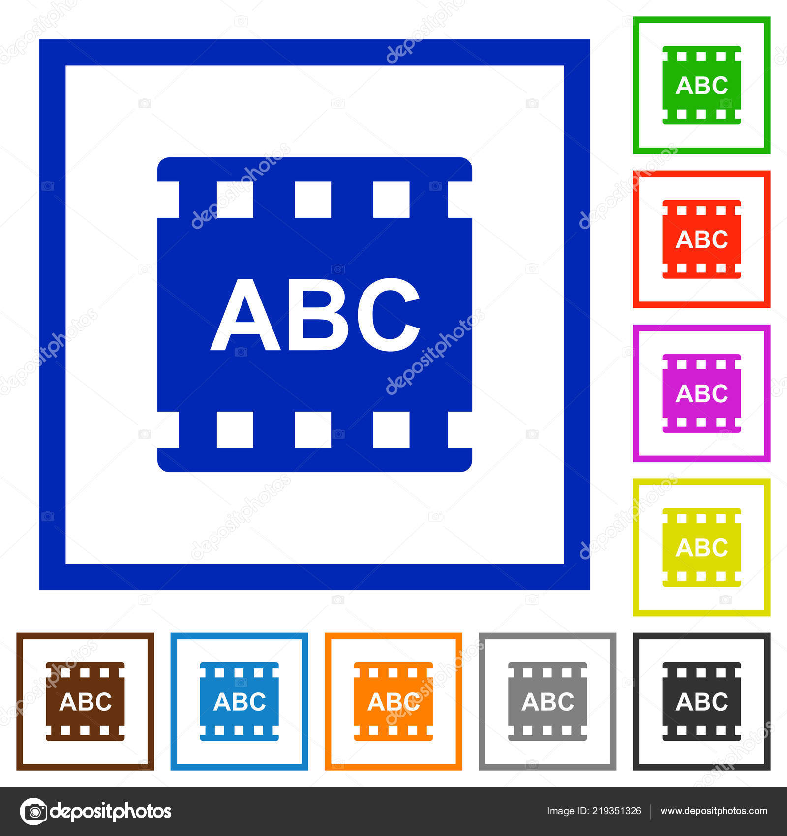 Movie Subtitle Flat Color Icons Square Frames White