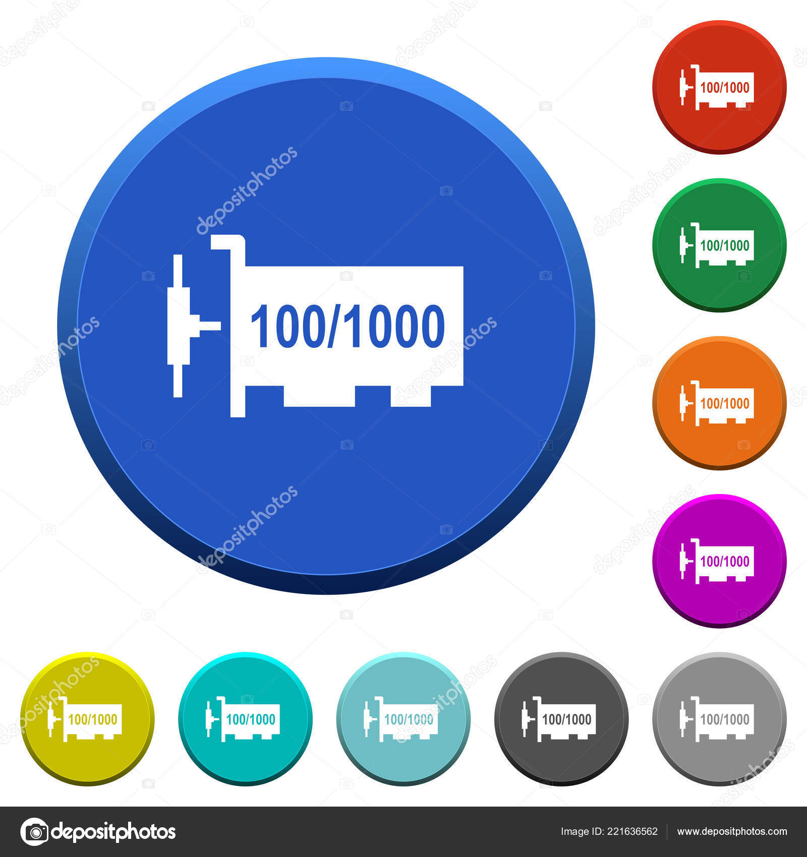 Gigabit Ethernet Network Controller Color Beveled Buttons Smooth Surfaces Flat Stock Vector