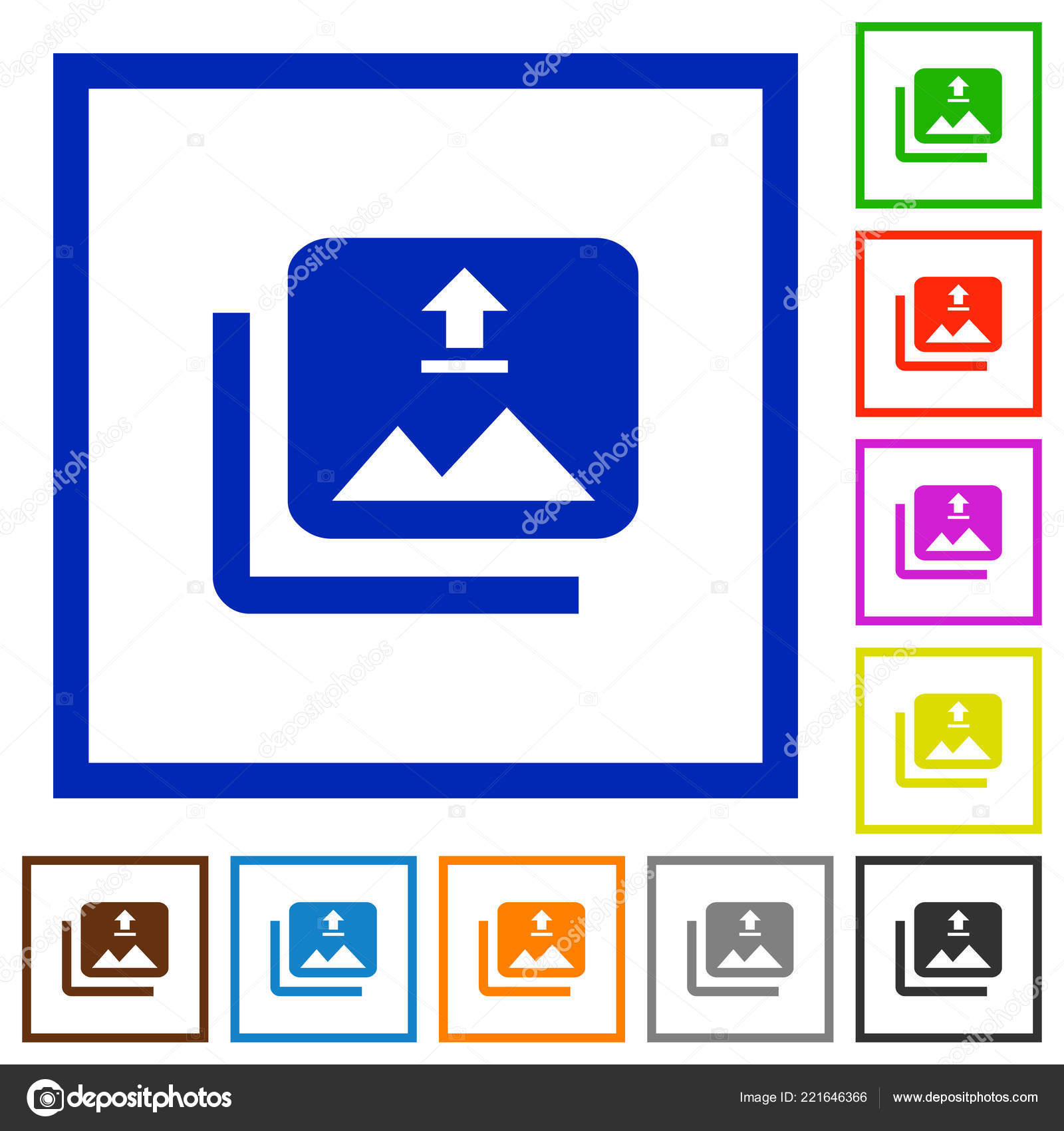 Upload Multiple Images Flat Color Icons Square Frames White ...
