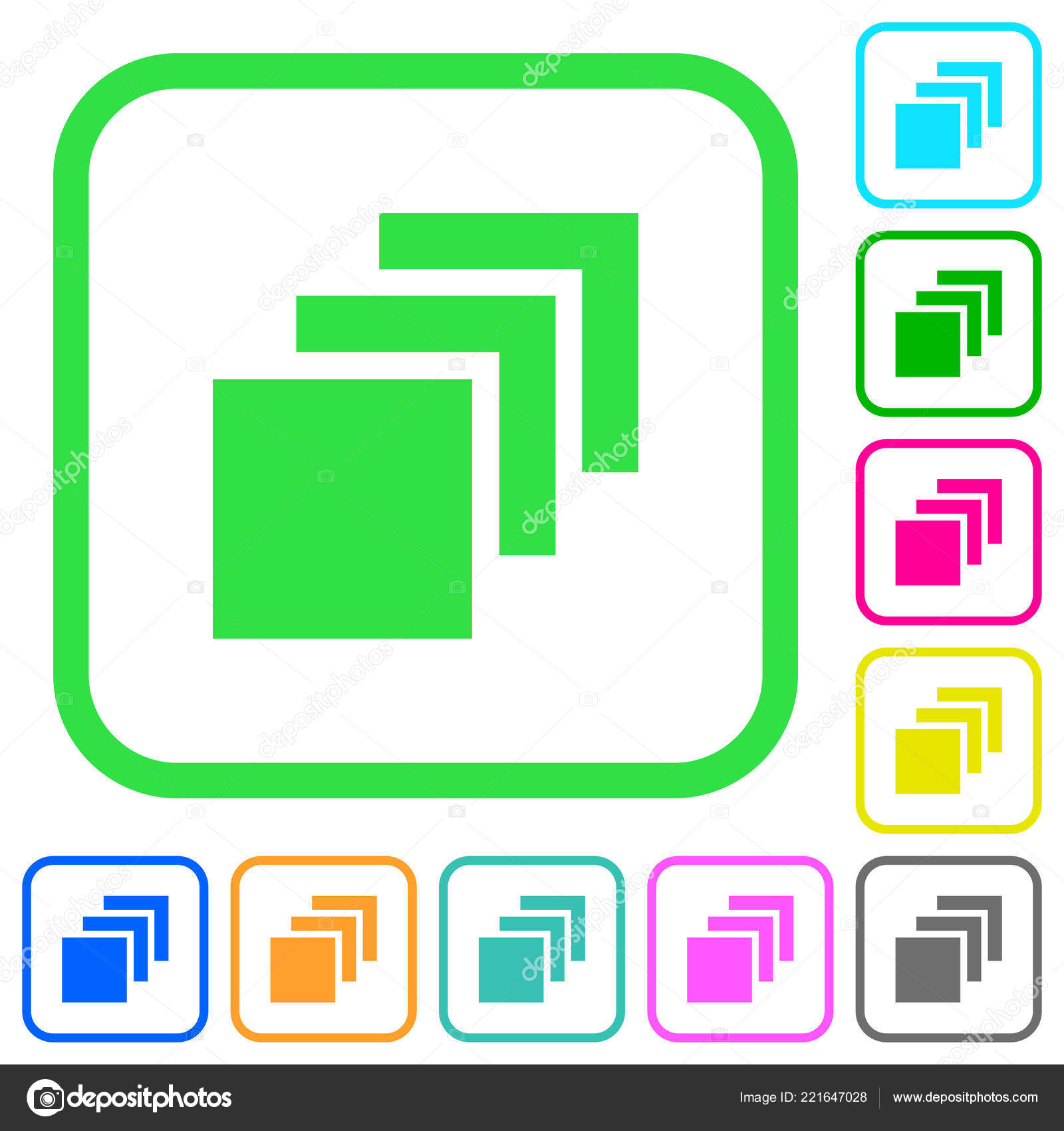 multiple canvases vivid colored flat icons curved borders white
