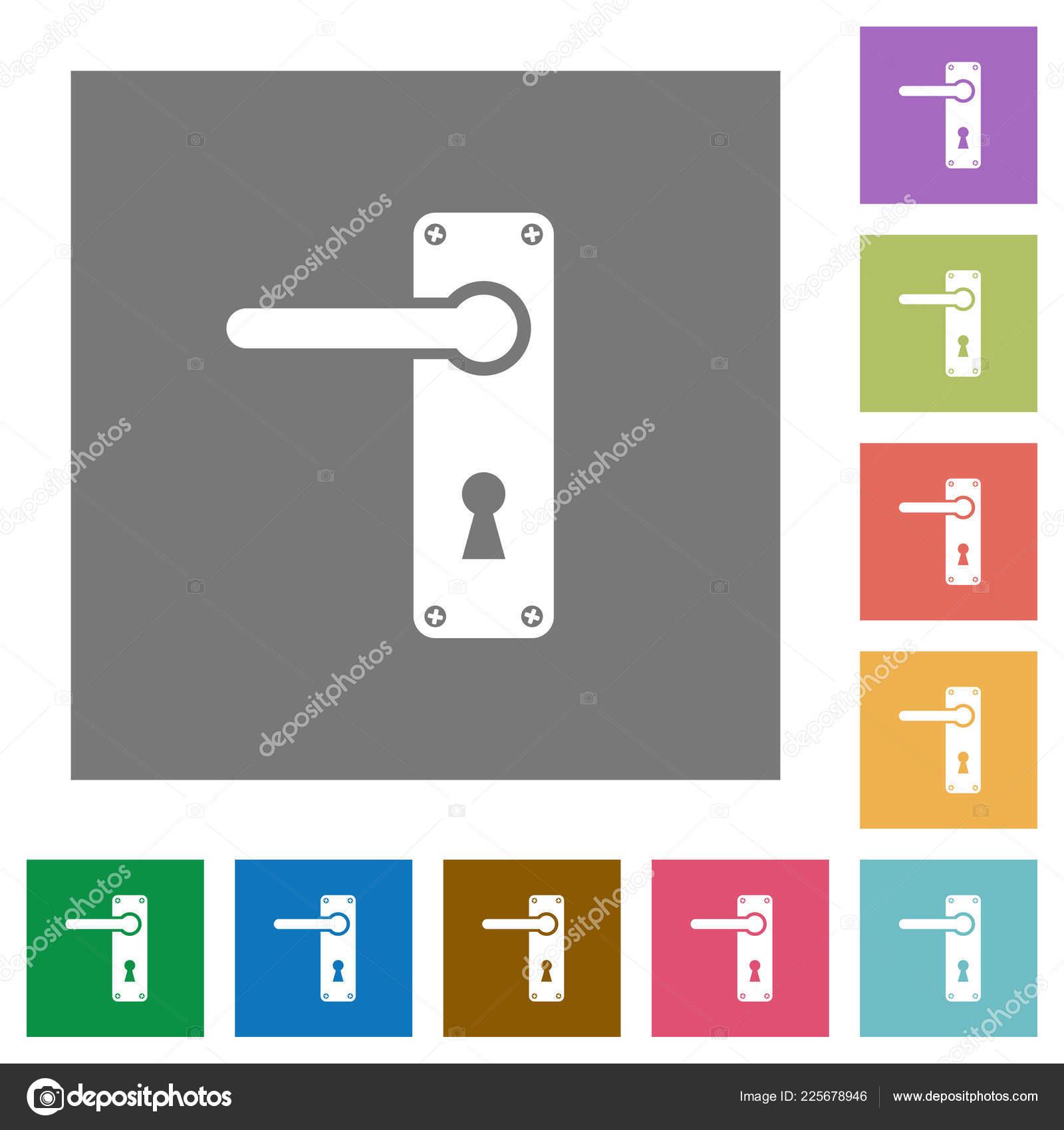Left Handed Door Handle Screws Flat Icons Simple Color Square U2014 Stock Vector