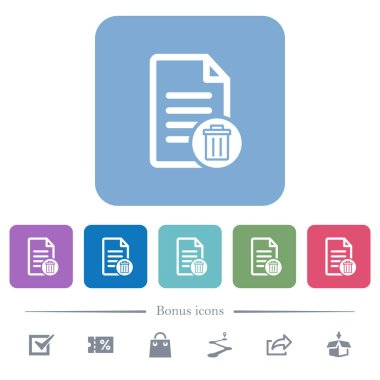 Delete document white flat icons on color rounded square backgrounds. 6 bonus icons included