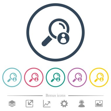 Search member flat color icons in round outlines. 6 bonus icons included.