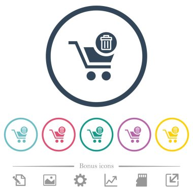 Delete from cart flat color icons in round outlines. 6 bonus icons included.