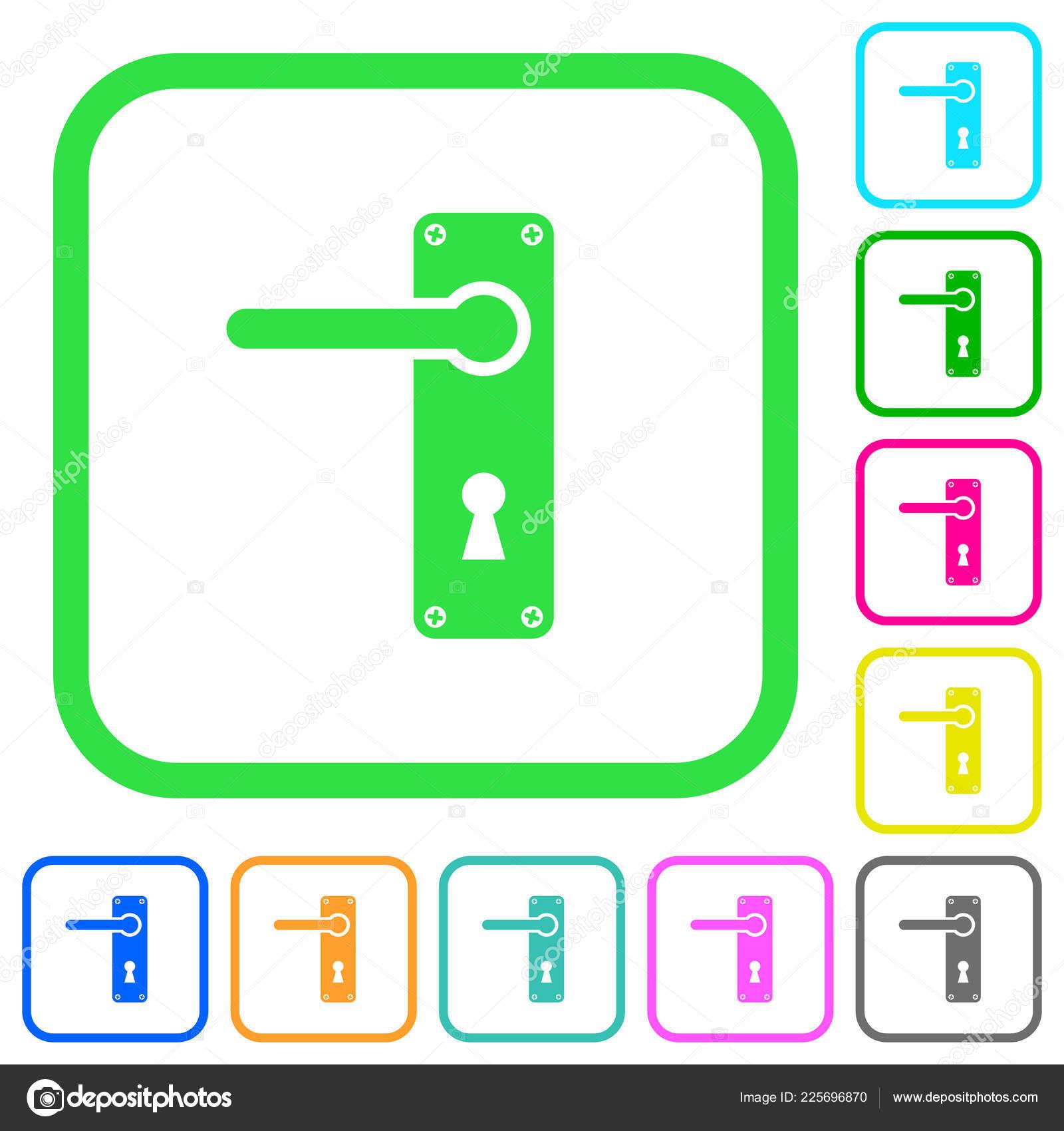 Left Handed Door Handle Screws Vivid Colored Flat Icons Curved U2014 Stock  Vector