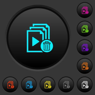 Delete entire playlist dark push buttons with vivid color icons on dark grey background