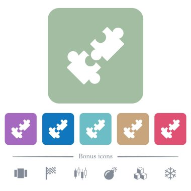 Cooperation white flat icons on color rounded square backgrounds. 6 bonus icons included icon
