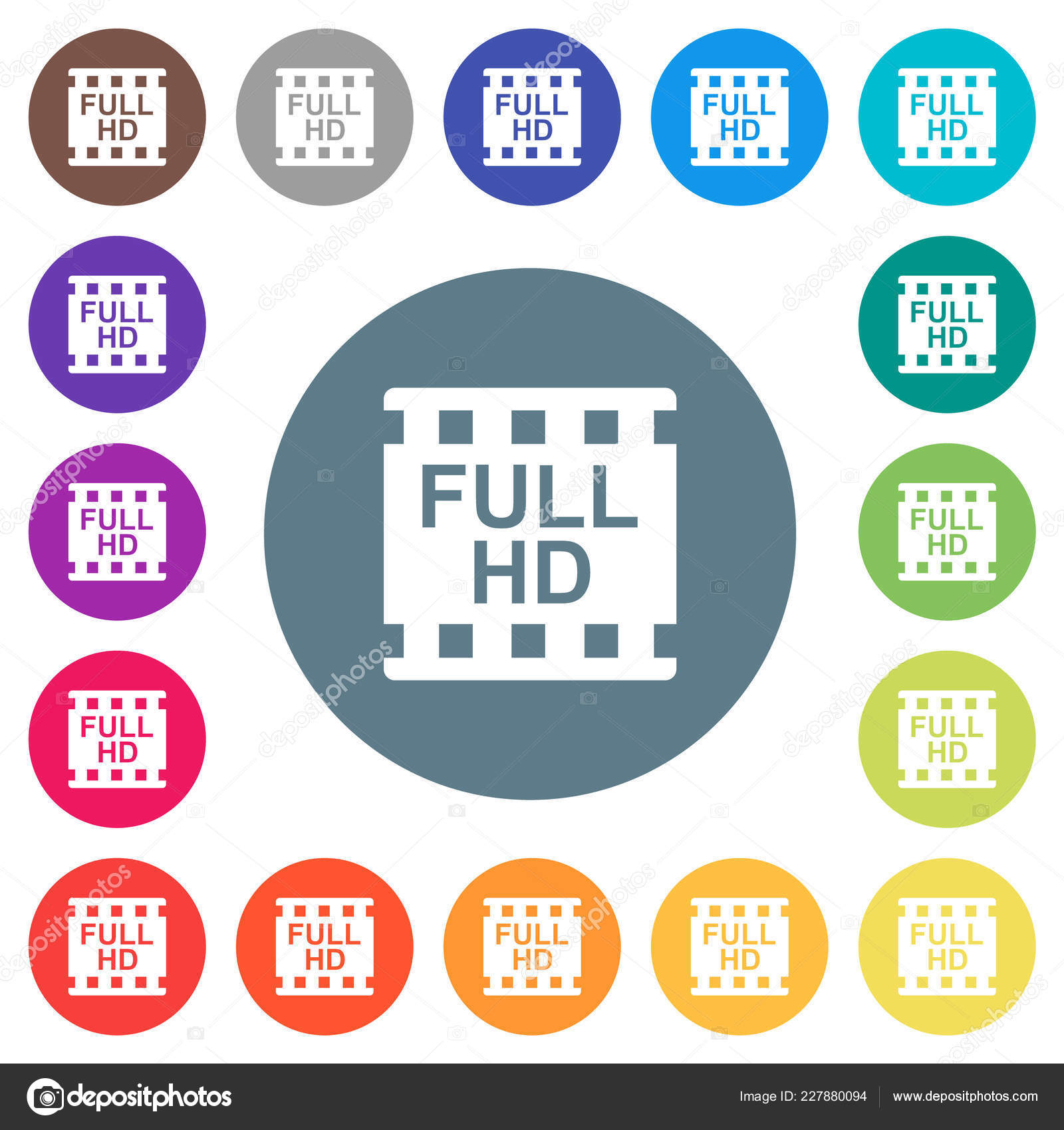 Full Movie Format Flat White Icons Color Backgrounds