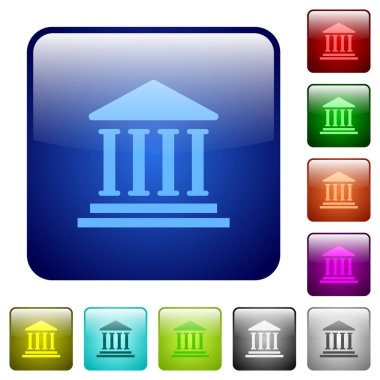 Bank office building icons in rounded square color glossy button set