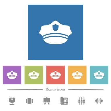Police hat flat white icons in square backgrounds
